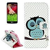 König-Shop LG G2 Mini Handy Hülle Schutzhülle Schutztasche Wallet Tasche Case Cover Etui Schale Handyhülle Handyschale Handytasche mit Standfunktion Eule auf Ast