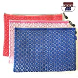 Versatile Decor Zip Up Make Up Mesh Plastic Pouch Bag SINGLE .- Available in 3 sizes (A4, )