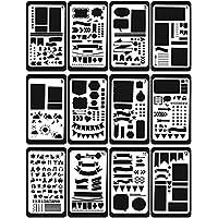 Ai-life 12 piezas plástico dibujo pintura Stencil escala gráficos plantilla, Bullet Diario Stencil Set para cuaderno/diario/Scrapbook/diario/tarjeta DIY proyectos de manualidades, 4x7 pulgadas