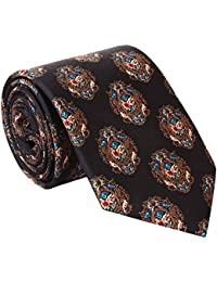Rohit Bal Men's Pure Silk Tie- Pocket Square - Packed in nice wooden box - Black (Free Size)