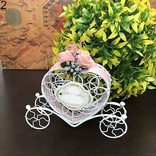 flybuild Herz Kutsche Wedding Favour Box Sweet Box Geschenk-Box für Hochzeit Geburtstag Baby Dusche Taufe Weihnachten Gastgeschenke Karton Einheitsgröße rose (Geschenk-taschen Für Baby-dusche)