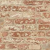 Thedecofactory RMK9035WP Papier Peint AHESIF REPOSITIONNABLE Brique Orange Vinyle,...