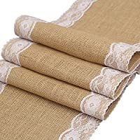 """Vintage Burlap Table Runners 12""""x108"""" Rustic Jute Shabby Lace Hessian Table Runner for Wedding Bridal Shower Festival Party Event Decorations"""