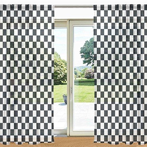 MyDaily, Schwarz-Weiß, Plaid Gingham kariert Bedruckt, Fenster und Tür Vorhang, 2Kammern 55x 84cm mit Tasche Panels für Wohnzimmer Schlafzimmer Kinderzimmer, Polyester, Multi, 55