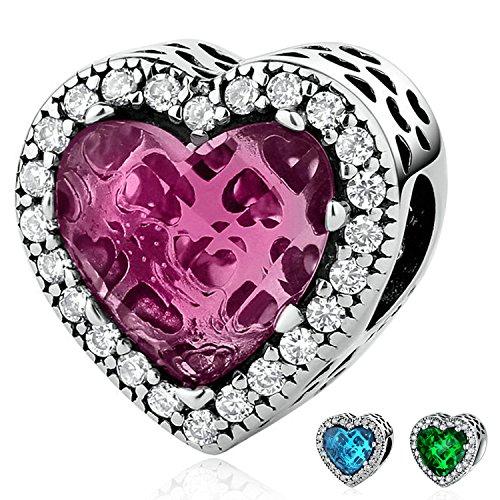 Youfeng gioielli in argento sterling 925ciondoli love cuore verde rosso blu 3style birthstone crystal bead charm bracciali e argento, colore: red, cod. upsc