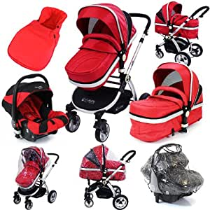iSafe System - Red Travel System Pram & Luxury Stroller 3 in 1 Complete With Footmuff, Carseat Footmuff, All the Raincovers