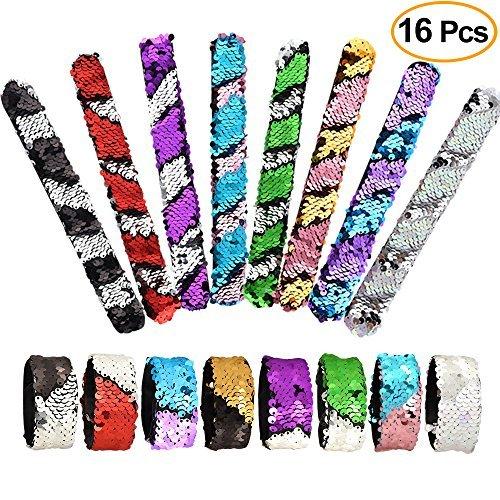 KUUQA 16 Stücke Magie Pailletten Meerjungfrau Armbänder 2-Color Pailletten Glitter Slap Armbänder für Kinder Meerjungfrau Geburtstag Party Favors Taschen Liefert (Zufällige Farben)