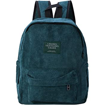 645452e4ee8c JAGENIE Letter Patched Corduroy Backpack School Travel Casual Daypack for  Girls Women Dark Green