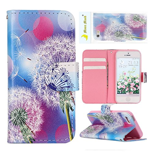 iPhone SE Flip Cover, iPhone 5 Handyhülle, iPhone 5S Case,Moon mood® Flip Case Brieftasche für Apple iPhone 5/5S/SE (4.0 Zoll) ,PU Leder Hülle Wallet Case Folio Schutzhülle Scratch Design Bumper Handy Löwenzahn