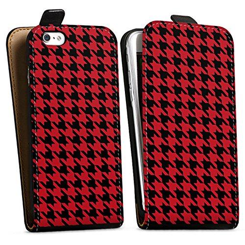 Apple iPhone X Silikon Hülle Case Schutzhülle Muster Hahnentritt Rot Schwarz Downflip Tasche schwarz