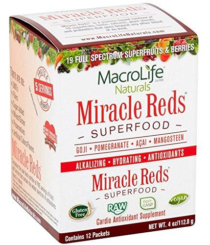 MacroLife Naturals Miracle Reds Raw Organic Superfood Powerful Gluten Free, Non GMO Fruit & Veggie Drink Powder, 4 Ounce