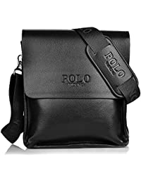 Messenger Bag Men's Black Composite Leather Shoulder Bag + Adjustable Black Canvas Strap Polo Videng