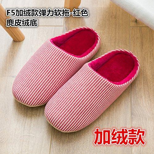 LaxBa Femmes Hommes Chaussures Slipper antiglisse intérieur Le velours rouge