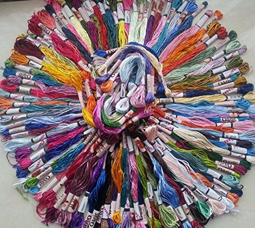 100Stränge Stickgarn, Seide, Rayon, 100tolle Farben, (Hand-stickerei Zahnseide)