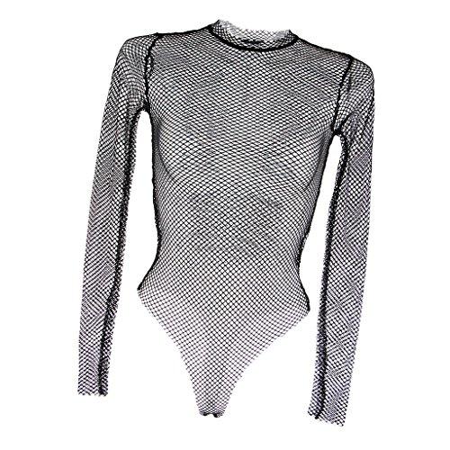 Prettyia Transparent Damen Netzbody Bodysuit Einteiliger Reizwäsche Body Schwarz Mesh Top Kostüm Langarm Nachtwäsche - Schwarz, M
