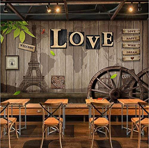 Benutzerdefinierte jeder größe 3D Tapete Retro Europäischen Stil Cafe Esszimmer Wohnzimmer Wandbild 3D LIEBE Holz Rad Hintergrund Decor Wandmalerei -