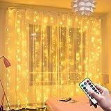 Sooair Rideau Lumineux, 3M*3M USB Guirlandes Lumineuses 300 LED, 8 Modes Télécommande minuterie Deco pour Rideau De Mariage P