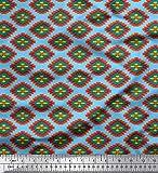 Soimoi Blau Viskose Chiffon Stoff geometrisch Ikat gedruckt