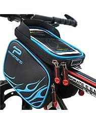 XBoze Bolsa de Bicicleta Ciclismo Impermeable Frontal Superior Tubo Marco Paños Doble Bolsa Teléfono Titular con Pantalla Táctil para Smartphone 5,7 Pulgadas (Negro)