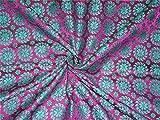 Seide Brokat Stoff Sea Grün X violett-rosa Farbe 111,8cm