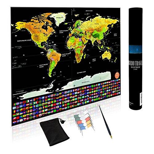 Scratch Off World Map-perfekter Geschenk für Reisende, Freunde, und Familie | Deluxe Größe | Premium Qualität Poster mit uns Staaten vorgezeichnet und Europa | Push Pin oder auf der Wall | Zubehör (Push-pin-bilderrahmen)