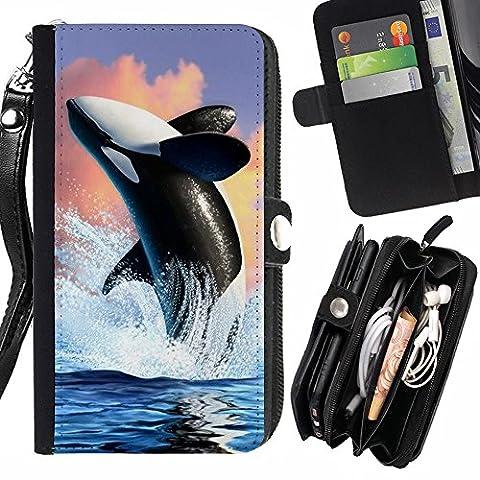 STPlus L'orque baleine Coque Housse de Protection Étui Portefeuille Avec Fermeture Éclair et Dragonne pour Samsung Galaxy Grand Prime