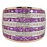 Harry Ivens Damen Ring Sterling-Silber 925 rosé vergoldet Amethyst Weißtopas RW17