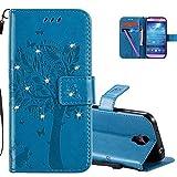COTDINFOR Samsung S4 Hülle für Mädchen Elegant Retro Premium PU Lederhülle Tasche mitMagnet Standfunktion Schutz Etui für Samsung Galaxy S4 Blue Wishing Tree with Diamond KT.