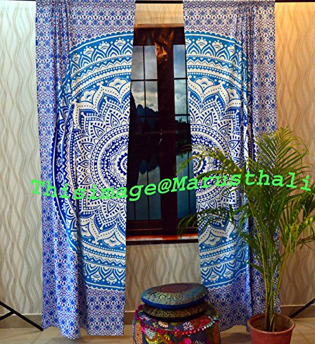 Door Window Boho Curtains Ombre Mandala Tapestry Drape Panel Sheer Scarf Divider (Ombre Sheer Panel)
