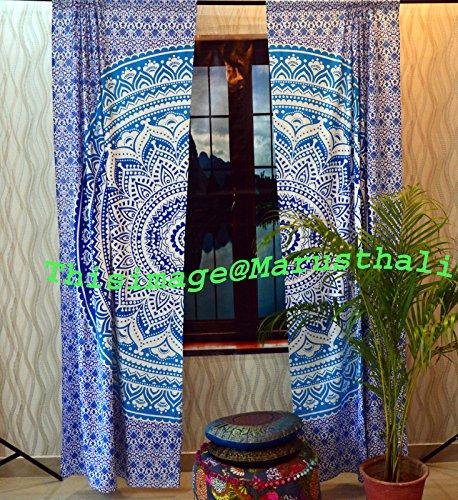 Door Window Boho Curtains Ombre Mandala Tapestry Drape Panel Sheer Scarf Divider (Ombre Sheer Panel)