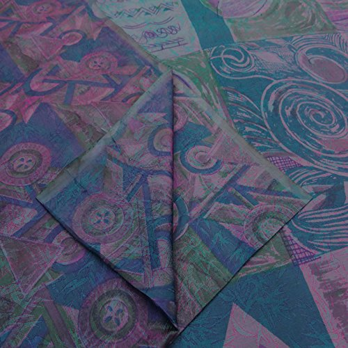 VintageandYou Jahrgang Indian Floral Printed Art Silk Saree Blue Ethnischen verwendet Sari Craft Stoff -