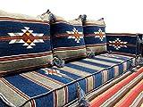 Orientalische Sitzecke/Sitzkissen/Sitzgruppe Kelim Kissen 5 teilig Komplett gefüllt Blau