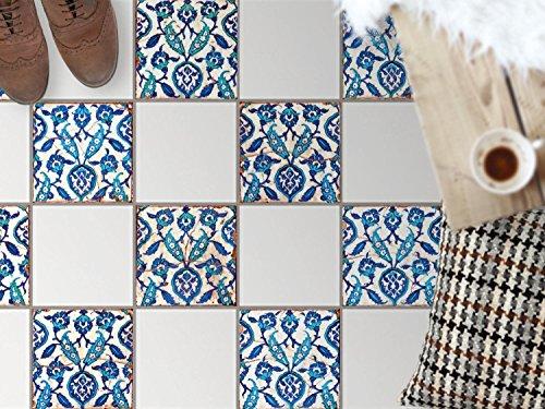 Fliesen Dekofolie, Bad-Fliesen   Fliesenfolie Sticker Aufkleber Bad Küche Bodenbild Küchen-Deko   32,5x32, Muster Ornament Hamam-Vibes - 9 Stück