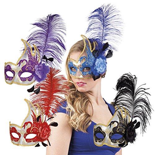 erdbeerclown- Damen Kostümzubehör: Venezianische Maske mit Feder+Blume, Blau