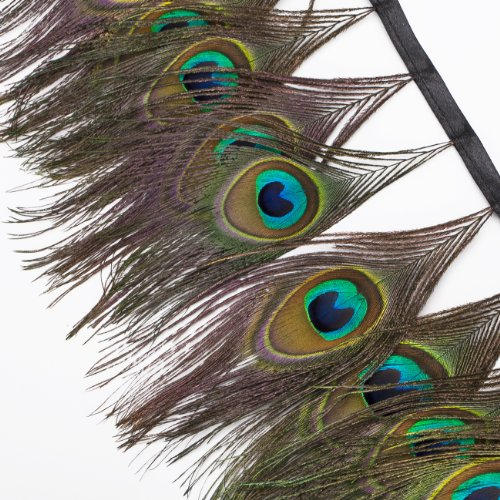 Neotrims Luxury Real Natural Peacock Eye Feather Trimming on Satin