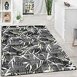 Teppich Modern Wohnzimmerteppich Kurzflor Grau Grün Creme Meliert Ausverkauf!!!, Grösse:67x130 cm