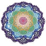 iBaste Strandtücher Mehrfarbig Lotus Blumen runde- Tischdecke-Wandteppich-Picknickdecke-Schal, Blau