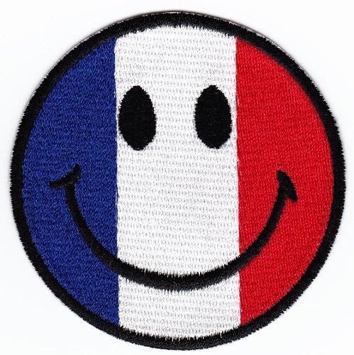Aufnäher Bügelbild Aufbügler Iron on Patches Applikation Frankreich Smiley Gesicht Smilies Kleidung (Jm Kleidung)