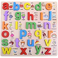 Newin Star Preschool Wooden Alphabet Puzzle Board Letters Jigsaw Puzzle, Early Educational Toy for Toddlers/Kids/Children - Lowercase Alphabet 1Pcs