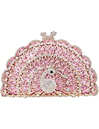 Bonjanvye Metallic Gorgeous Peacock Purse Animal Shape Evening Clutch Bag