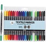 Pennarelli da tessuto, 20 colori assortiti, dunta doppia