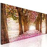 murando Bilder 150x50 cm - Leinwandbild - 1 Teilig - Kunstdruck - Modern - Wandbilder XXL - Wanddekoration - Design - Wand Bild - Park Natur Blumenweg c-A-0052-b-b