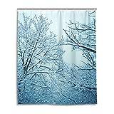 Bad Vorhang für die Dusche 152,4x 182,9cm, Schnee Natur Landschaft blau Frozen Tree, Polyester-Schimmelfest-Badezimmer Vorhang