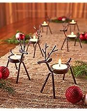 The Purple Tree Cute Christmas Reindeer Tealight Holder - 1 pc (Black) Reindeer Shaped tealight Deer Holder, Christmas Gift, Christmas Lights, Christmas tealight