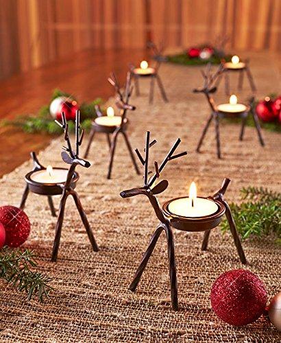 The Purple Tree Cute Christmas Reindeer Tealight Holder – 1 pc (Black) Reindeer Shaped tealight Deer Holder, Christmas Lights, Christmas tealight