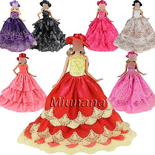 Preisvergleich Produktbild 3 Stück Hochzeitskleid Abendkleid Ballkleid Kleid Kleidung Kleider mit 3 Hut für Barbie Puppen