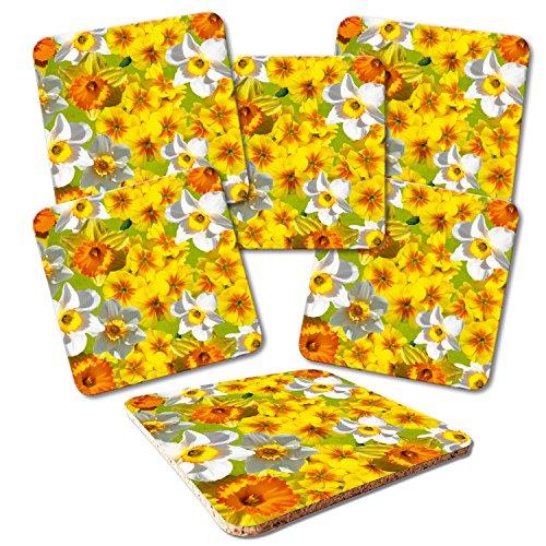 """Addies Glas-Untersetzer 6er-Set\""""Blumenvariation-06\"""", mit Kork-Untermaterial und in schöner Klarsichtbox geliefert"""
