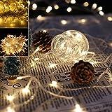 VINGO 10M 100 LED Lichterkette Weihnachtslichterkette Warmweiß Wasserdicht für Weihnachtszeit Hochzeiten Party Außen Schaufenster