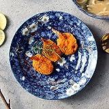 TKZS Geschirr, Keramik, Tiefe Glasur, Teller, Japanisch, Zuhause, Salatschüssel, Pastaschüssel (Kaliber 20cm / Schüsselhöhe 4cm) (Farbe : Blau)