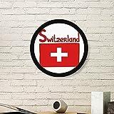 DIYthinker Schweiz Nationalflagge Rot Muster-Kunst-Malerei Bild Photo Holz-Rund Rahmen Ausgangswand-Dekor-Geschenk Medium Schwarz